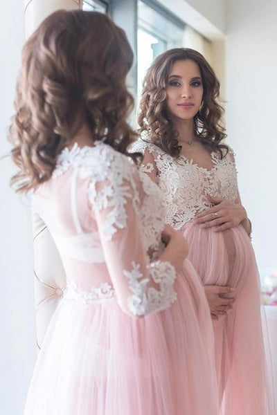 02547ca1c8 Blush Maternity Lace Dress for Photoshoot with Long Tulle Skirt