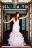 blush-pink-organza-mermaid-wedding-gown-ruffles-skirt