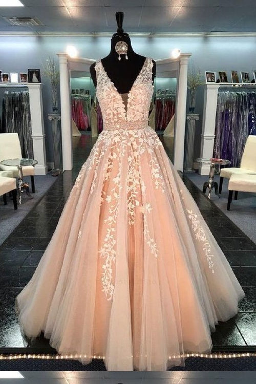 blush-pink-wedding-dress-with-ivory-floral-lace-bodice