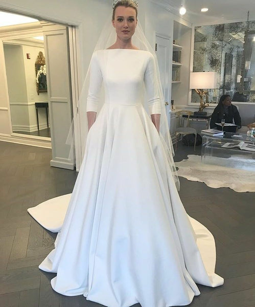 Wedding Gown With Pockets: Boat Neck 3/4 Sleeves Satin Wedding Gown With Pockets