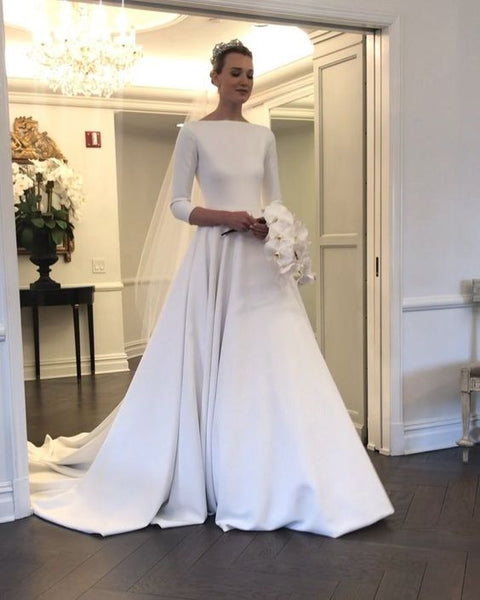 boat-neck-3-4-sleeves-satin-wedding-gown-with-pockets