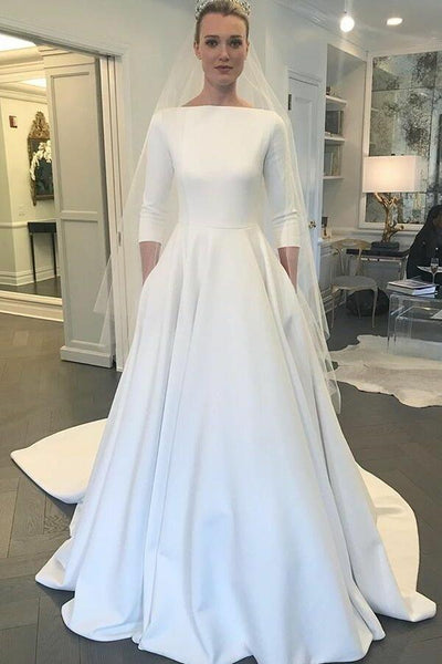 Wedding Dress With Sleeves.Boat Neck 3 4 Sleeves Satin Wedding Gown With Pockets