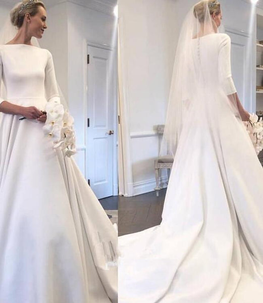 c4358eb118d Boat Neck 3 4 Sleeves Satin Wedding Gown with Pockets – loveangeldress