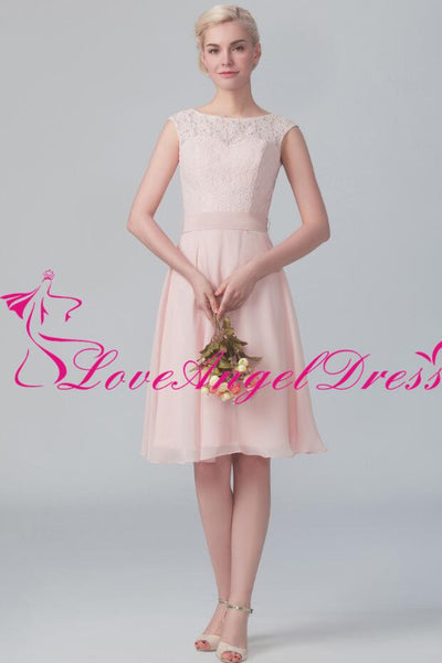 boat-neck-a-line-pink-lace-and-chiffon-short-bridesmaid-gown
