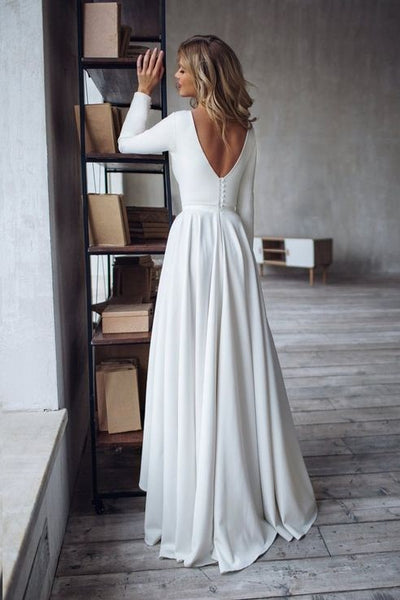 boat-neck-long-sleeve-high-low-wedding-dress-2020-2