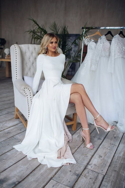 boat-neck-long-sleeve-high-low-wedding-dress-2020-1