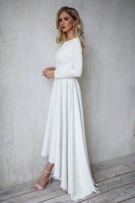 Sheer Long Sleeves Lace Modest Bride Dress Wedding 2018 novia