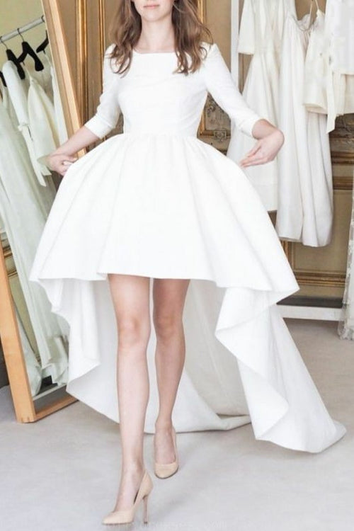 boat-neck-satin-high-low-wedding-dresses-with-sleeves
