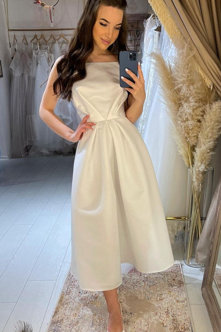 A-line Tea-Length White Wedding Gown with Straps Back