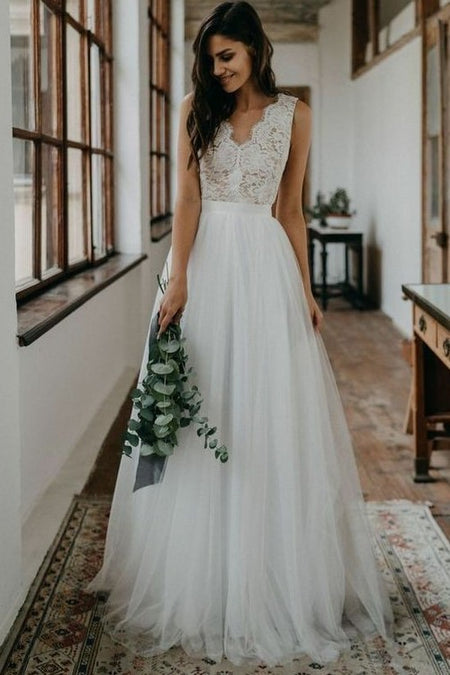 Dusty Tulle Lace Short Sleeves Bridal Gown with Sash