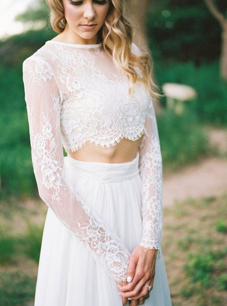 boho-chiffon-two-pieces-wedding-dresses-with-long-lace-sleeves-2