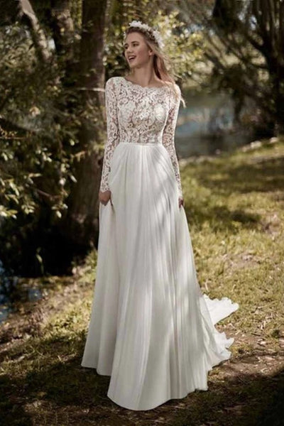 boho-lace-long-sleeves-wedding-dress-2019-robe-de-mariee