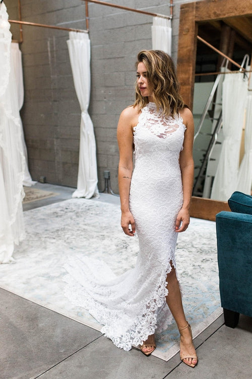 boho-style-chic-lace-wedding-dress-with-hollow-back