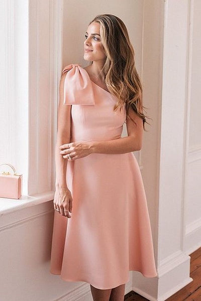 bow-one-shoulder-pink-bridesmaid-dresses-knee-length