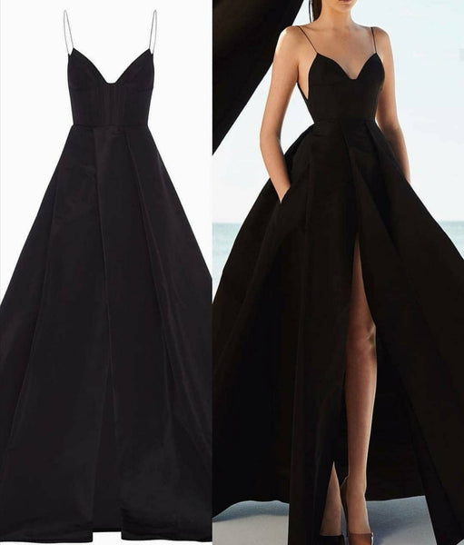 Box Pleats Black Long Prom Dresses with High Slit Front