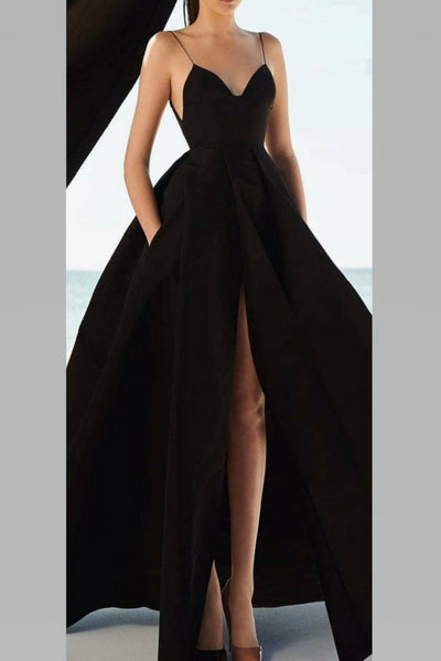 box-pleats-black-long-prom-dresses-with-high-slit-front