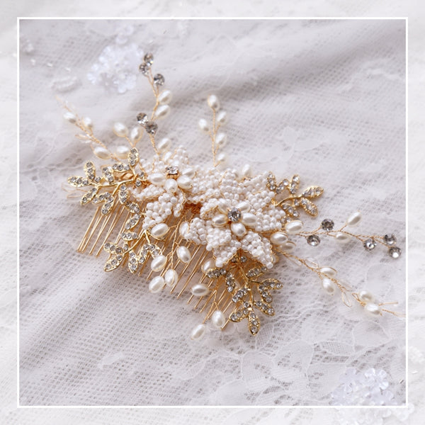 Bridal Golden Hair Comb Beaded Pearl Wedding Combs Accessories