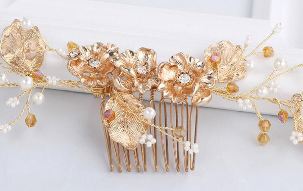 Bridal Hair Comb Crystal Ornaments Handmade Jewelry Wedding Accessories