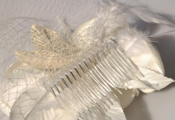 british-style-flowers-birdcage-veil-feather-hair-clip
