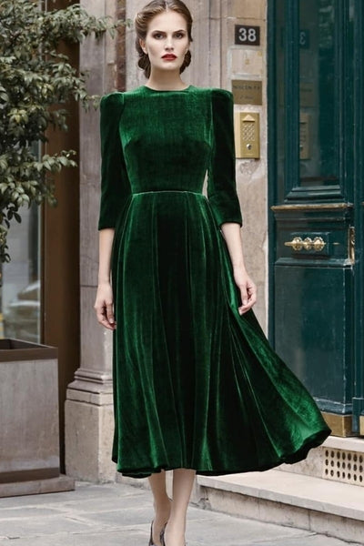 british-style-velvet-green-short-evening-dress-with-sleeves