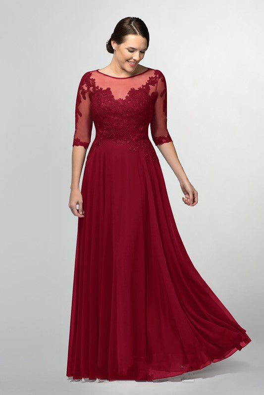 Burgundy Chiffon Long Bride\'s Mother Dresses Plus Size – loveangeldress