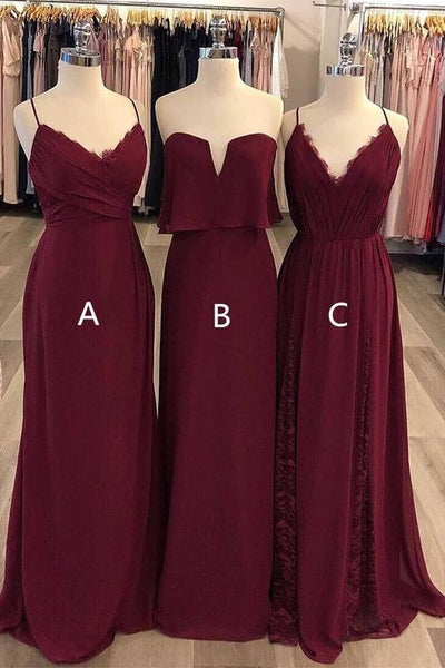 burgundy-chiffon-mismatched-bridesmaid-long-dresses-for-wedding-party