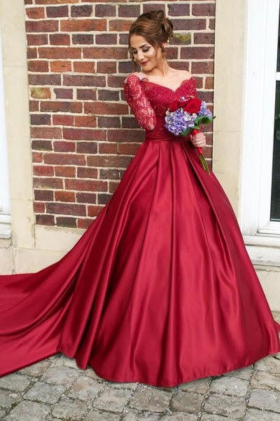 burgundy-prom-dresses-beaded-lace-sleeves-with-satin-skirt