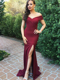 burgundy-satin-long-formal-evening-dresses-with-side-slit