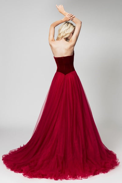 burgundy-velvet-evening-dresses-with-tulle-skirt-1