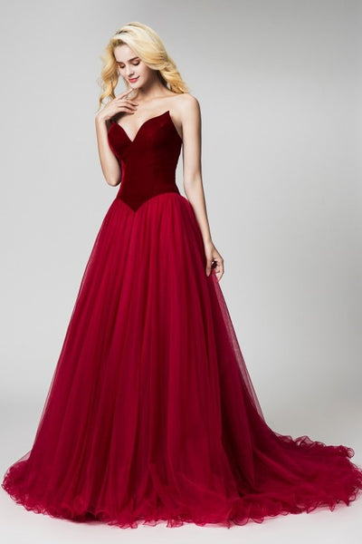 burgundy-velvet-evening-dresses-with-tulle-skirt-2