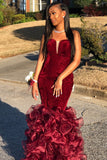 burgundy-velvet-strapless-prom-dress-with-organza-ruffled-skirt