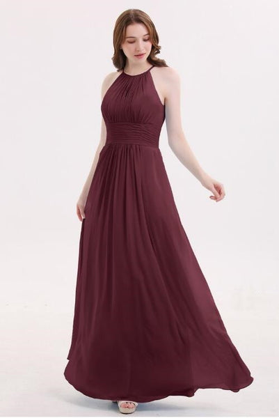 cabernet-long-chiffon-wedding-guests-dresses-with-pleated-bodice