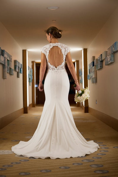 cap-sleeves-lace-crepe-wedding-gown-with-sweep-train
