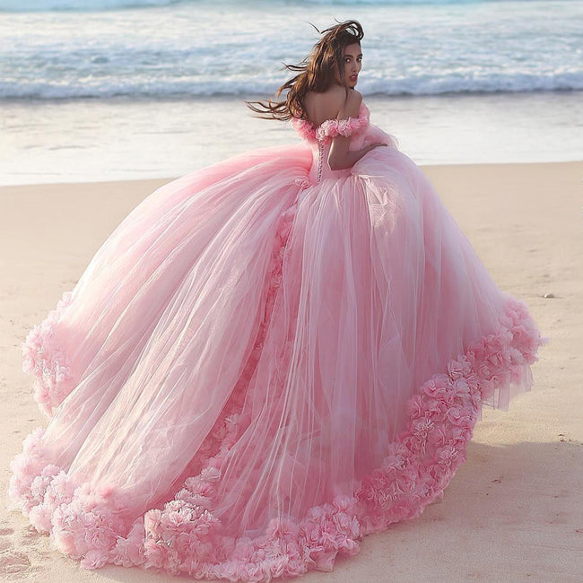castle-style-ruffled-flowers-tulle-pink-ball-gown-wedding-dresses-1