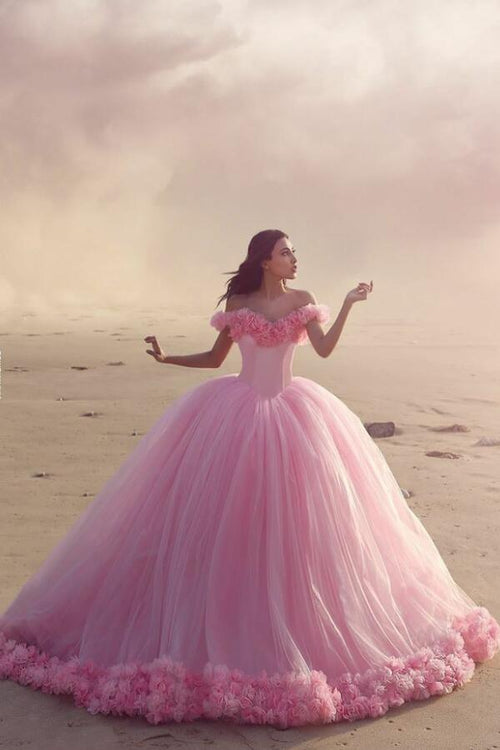 castle-style-ruffled-flowers-tulle-pink-ball-gown-wedding-dresses