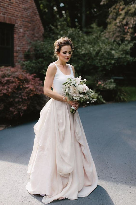 V-neckline Lace Floral Wedding Gown with Contrast Color Skirt