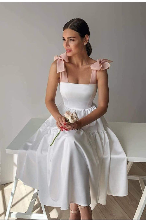 casual-short-white-wedding-dress-with-pink-bow-straps