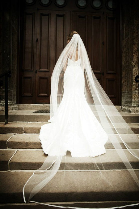 Two Tier Ribbon Satin Edge Wedding Veil with Blusher