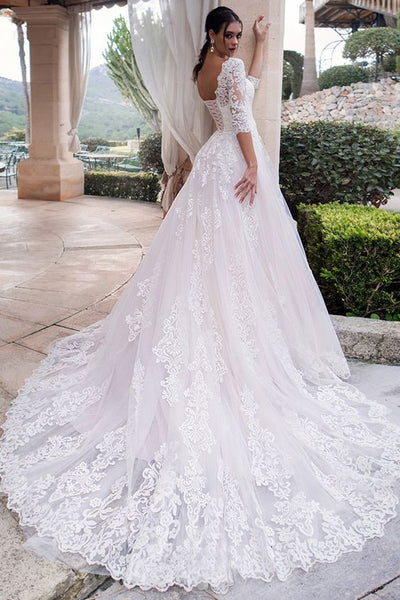 cathedral-train-white-lace-bridal-dresses-with-sleeves-vestido-de-boda-1