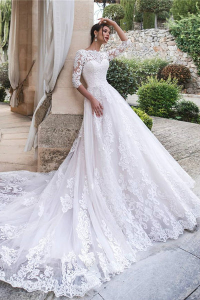 cathedral-train-white-lace-bridal-dresses-with-sleeves-vestido-de-boda