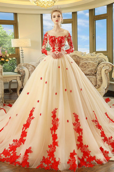champagne-long-sleeves-red-appliques-wedding-dresses-with-royal-train