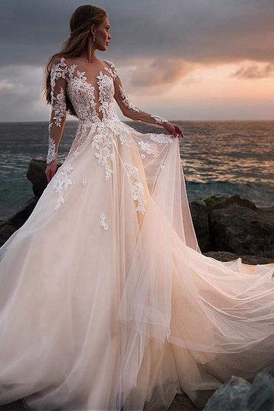 4f20924b2573b Champagne Tulle Wedding Dress with Illusion Lace Long Sleeves –  loveangeldress