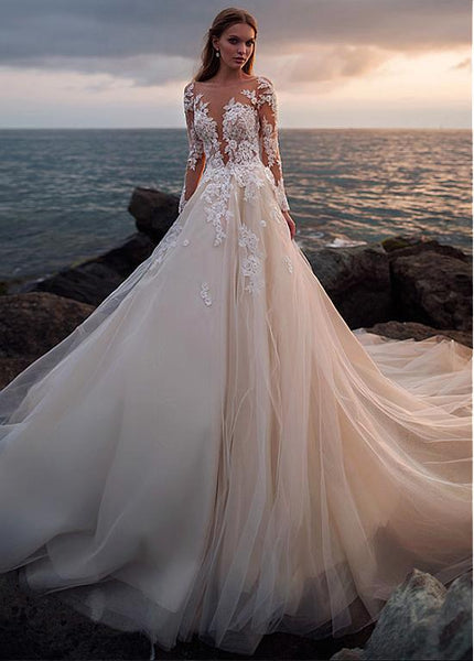 champagne-tulle-wedding-dress-with-illusion-lace-long-sleeves