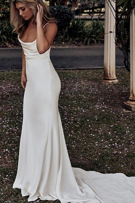 Ruching High Neck Beach Wedding Dress with Chiffon Skirt