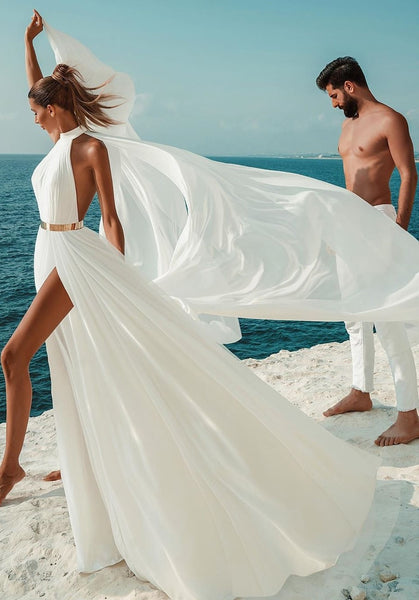 chic-chiffon-beach-wedding-gown-with-gold-belt-1