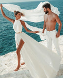 chic-chiffon-beach-wedding-gown-with-gold-belt-2
