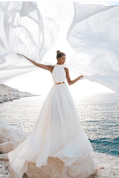 chic-chiffon-beach-wedding-gown-with-gold-belt