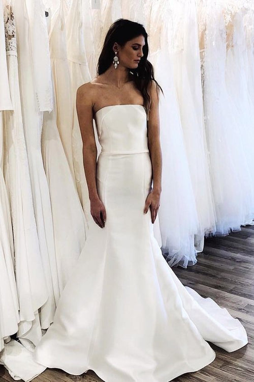chic-strapless-satin-wedding-gown-mermaid-style-skirt