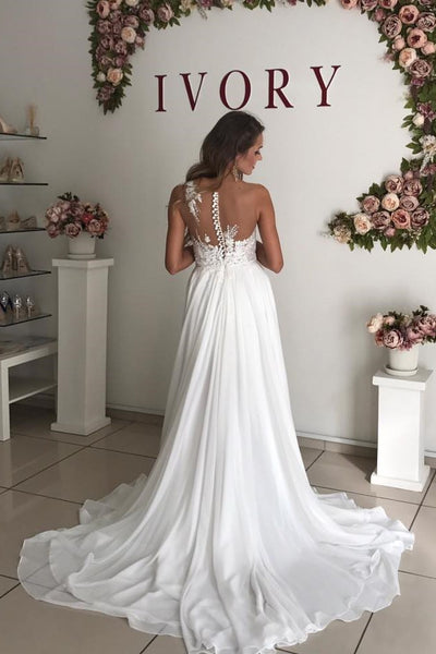 chiffon-boho-bridal-gown-with-sheer-lace-neckline-1