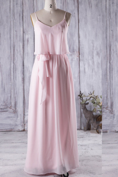 Ruched Chiffon Bridesmaid Dresses Online Long Wedding Party Gowns
